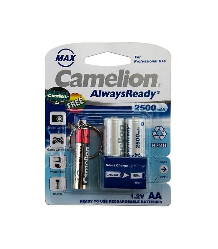 باتری قلمی قابل شارژ کاملیون 2500 میلی آمپر همراه با چراغ قوه LED