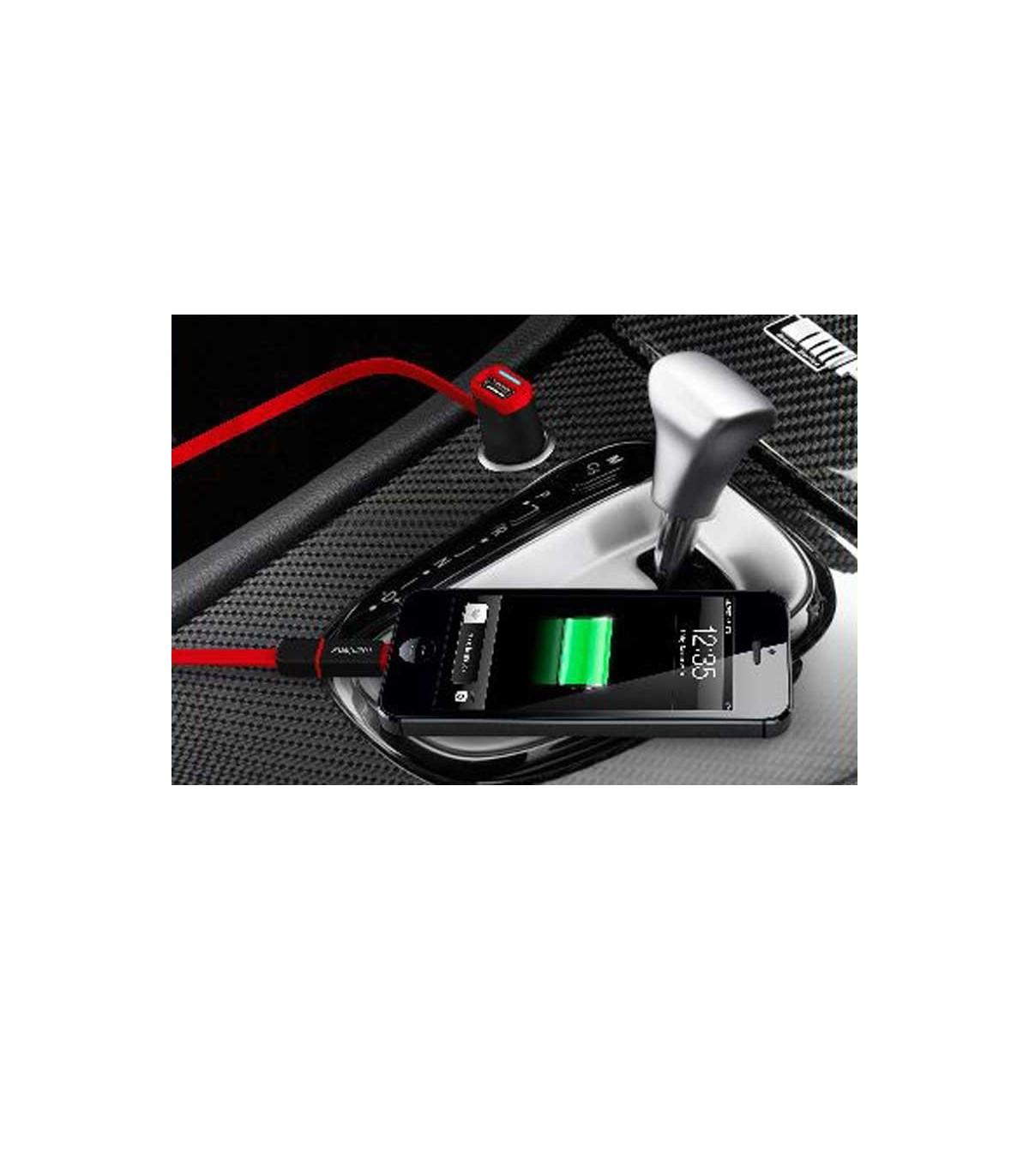 شارژر فندکی خودرو Fujipower Mini Car Charger With MicroUSB/Lightning Cable