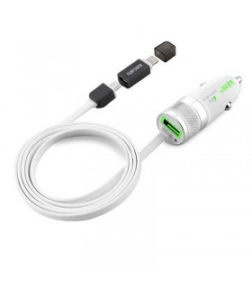 شارژر فندکی خودرو Fujipower Mini Fast Charger 1 USB MicroUSB/Lightning Cable