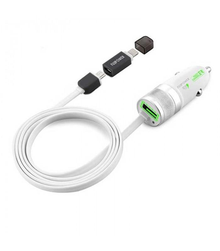 شارژر فندکی خودرو Fujipower Mini Fast Charger 1 USB MicroUSB/Lightning Cable