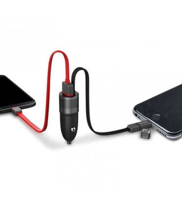 فوجی پاورMini-Car-Charge -02شارژر فندکی خودرو Fujipower Mini Fast Charger 1 USB MicroUSB/Lightning Cable
