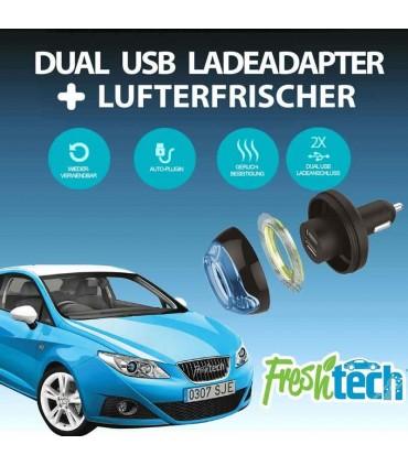 شارژر فندکی و خوش بو کننده هوا Freshtech 2USB